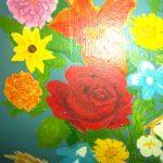 rose peinte/ rose décorative