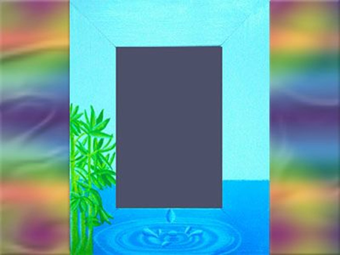 Cadre photo peint à la main sur le théme de l'eau. Décor peint à l'huile[:]