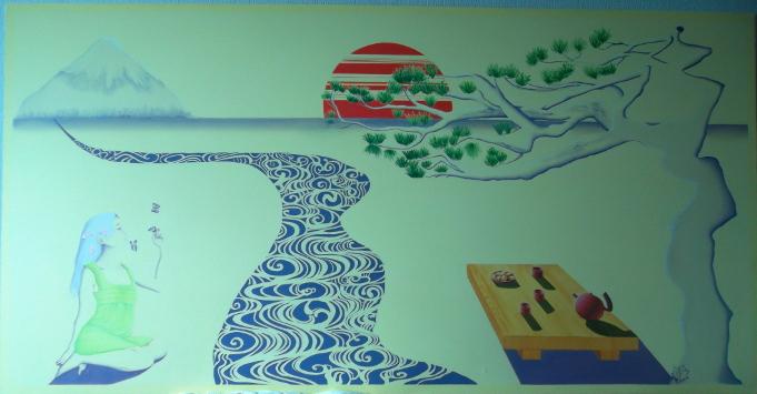 peinture murale/ décoration japonaise